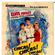 Cine: CHICAS CHICAS CHICAS (FOLLETO DE MANO ORIGINAL CON PUBLICIDAD IMPRESA CINE CAPITOL) ELVIS PRESLEY. Lote 134105831