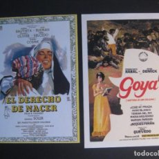 Cine: EL DERECHO DE NACER Y GOYA NUEVOS. Lote 63382548