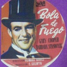 Cine: FOLLETO DE MANO, PROGRAMA CINE, BOLA DE FUEGO, GARY COOPER, TROQUELADO, PM154. Lote 63941403