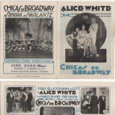 Flyers Publicitaires de films Anciens: CHICAS DE BROADWAY ,( BRODWAY BABIES ),ALICE WHITE , CHARLES DELANEY, 1929. Lote 29347982