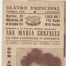 Flyers Publicitaires de films Anciens: FOLLETO TRIPTICO DE MANO TEATRO PRINCIPAL DE CASTELLON CON DON AMOR CON FALDAS DE NOV.1950. Lote 64044479