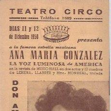 Foglietti di film di film antichi di cinema: FOLLETO TRIPTICO DE MANO TEATRO CIRCO CON DON AMOR CON FALDAS DE DICB.1950. Lote 64049255