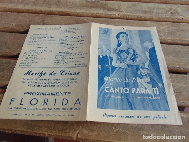 GUIA PROGRAMA FOLLETO DE PELICULA DE CINE FLORIDA CANTO PARA TI MARIFE DE TRIANA (Cine - Folletos de Mano - Clásico Español)