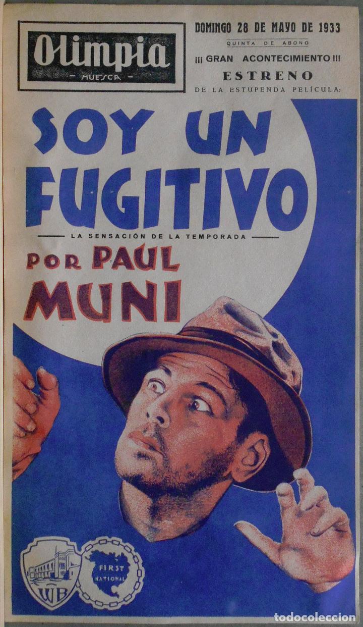SOY UN FUGITIVO PROGRAMA PASQUIN WARNER PAUL MUNI GLENDA FARRELL PRESTON FOSTER (Cine - Folletos de Mano - Acción)