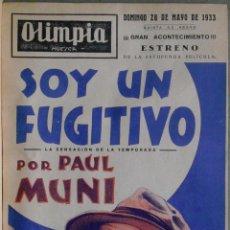 Cine: SOY UN FUGITIVO PROGRAMA PASQUIN WARNER PAUL MUNI GLENDA FARRELL PRESTON FOSTER. Lote 57192452