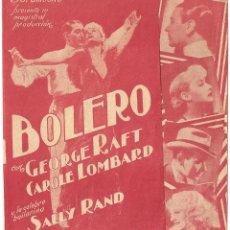 D BOLERO PROGRAMA DOBLE URUGUAYO PARAMOUNT GEORGE RAFT CAROLE LOMBARD