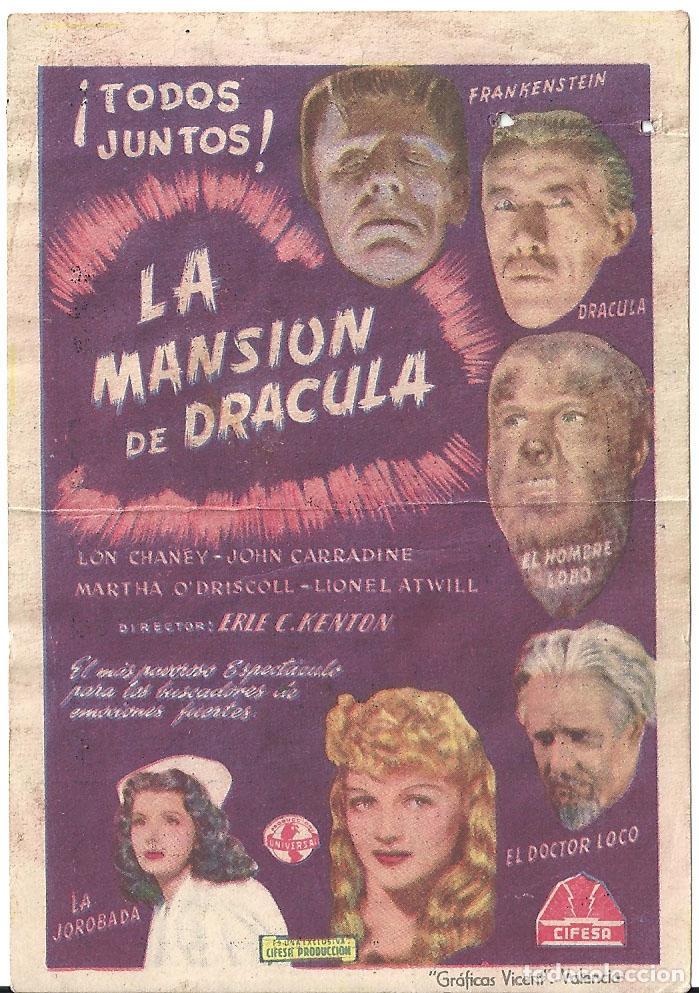 LA MANSION DE DRACULA PROGRAMA SENCILLO CIFESA LON CHANEY JR. JOHN CARRADINE (Cine - Folletos de Mano - Terror)
