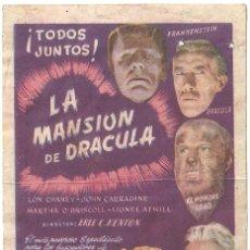 Cine: LA MANSION DE DRACULA PROGRAMA SENCILLO CIFESA LON CHANEY JR. JOHN CARRADINE. Lote 64491067