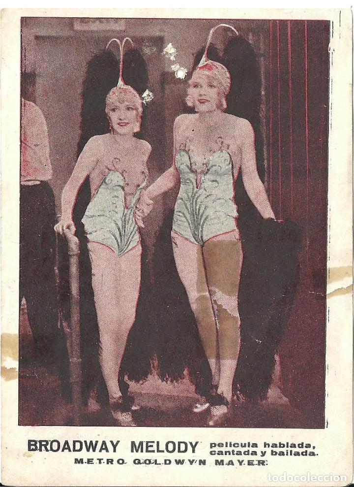 BROADWAY MELODY / LA MELODIA DE BROADWAY PROGRAMA TARJETA MGM ANITA PAGE BESSIE LOVE A (Cine - Folletos de Mano - Musicales)