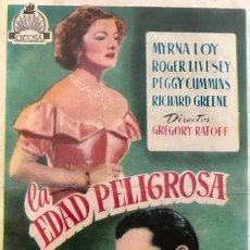 Cine: LA EDAD PELIGROSA-MYRNA LOY- CINE CASINO CALDENSE (CALDAS DE MONTBUI, BARCELONA). Lote 64702195