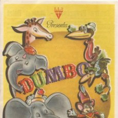 Flyers Publicitaires de films Anciens: DUMBO - WALT DISNEY - DIBUJOS ANIMADOS - CON PUBLICIDAD - TEATRO PRINCIPAL - CINEMA BOLET - 1945. Lote 65678374