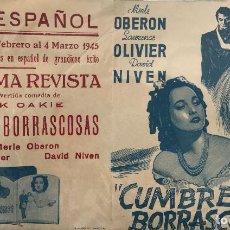 Cine: CUMBRES BORRASCOSAS- DOBLE-MERLE OBERON-LAURENCE OLIVIER- CINE ESPAÑOL (BARCELONA). Lote 65730022