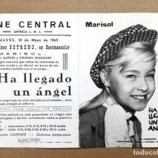 Cine: HA LLEGADO UN ANGEL ,PROGRAMA DOBLE CANCIONERO SUEVIA CINE ESPAÑOL MARISOL.CINE CENTRAL,CARTAGENA. Lote 66127702