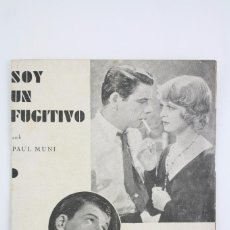 Cine: PROGRAMA DE CINE DOBLE - SOY UN FUGITIVO - PAUL MUNI - WARNER BROS / FIRST NATIONAL - AÑO 1933. Lote 66220198