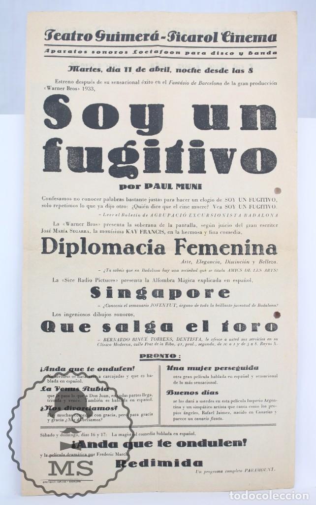 Cine: Programa de Cine Grande / Cartel - Soy Un Fugitivo - Paul Muni - First National - Año 1933 - Foto 3 - 66226950