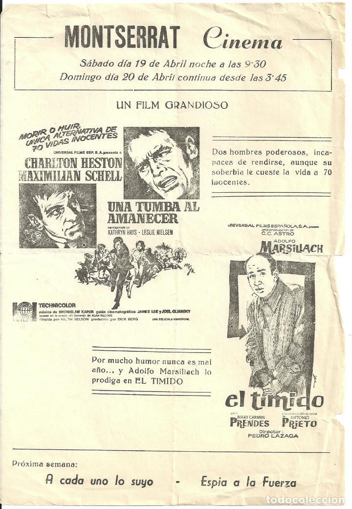 UNA TUMBA AL AMANECER PROGRAMA LOCAL CHARLTON HESTON MAXIMILIAN SCHELL LESLIE NIELSEN (Cine - Folletos de Mano - Acción)