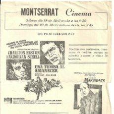 Cine: UNA TUMBA AL AMANECER PROGRAMA LOCAL CHARLTON HESTON MAXIMILIAN SCHELL LESLIE NIELSEN. Lote 66246990