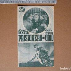 Cine: PRISIONERO DEL ODIO- FOLLETO DE CARTON - 1936. Lote 66986666