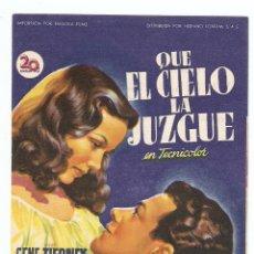 Cine: QUE EL CIELO LA JUZGUE - GENE TIERNEY, CORNEL WILDE, JEANNE CRAIN - DIRECTOR JOHN M STAHL - SOLIGÓ. Lote 67330561