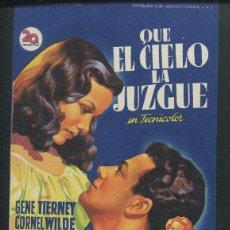 Cine: PROGRAMA SOLIGO - QUE EL CIELO LA JUZGUE. GENE TIERNEY, CORNEL WILDE, JEANNE CRAIN CON PUBLICIDAD. Lote 67350881