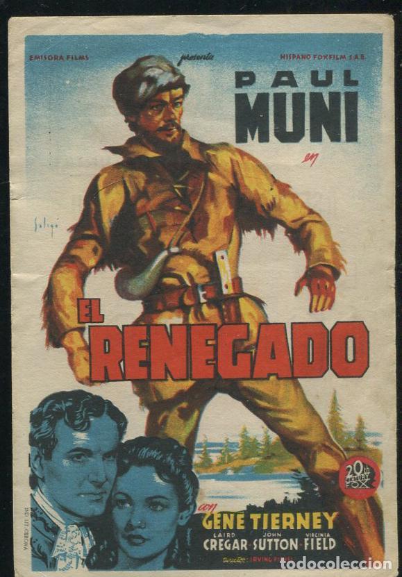 PROGRAMA SOLIGO - EL RENEGADO - PAUL MUNI GENE TIERNEY CON PUBLICIDAD (Cine - Folletos de Mano - Acción)