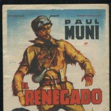 Cine: PROGRAMA SOLIGO - EL RENEGADO - PAUL MUNI GENE TIERNEY CON PUBLICIDAD. Lote 67351229