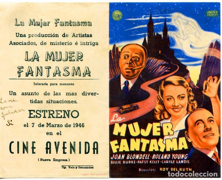 LA MUJER FANTASMA (FOLLETO DE MANO ORIGINAL CON PUBLICIDAD CINE AVENIDA LAS PALMAS DE G.C.) (Cine - Folletos de Mano - Terror)