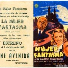 Cine: LA MUJER FANTASMA (FOLLETO DE MANO ORIGINAL CON PUBLICIDAD CINE AVENIDA LAS PALMAS DE G.C.) . Lote 67409817