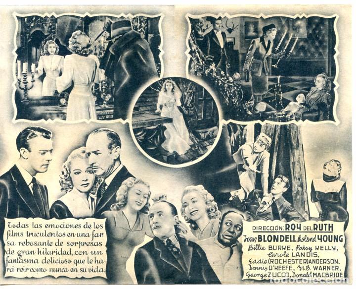 Cine: LA MUJER FANTASMA (FOLLETO DE MANO ORIGINAL CON PUBLICIDAD CINE AVENIDA LAS PALMAS DE G.C.) - Foto 2 - 67409817