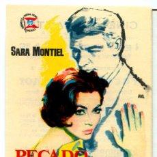 Folhetos de mão de filmes antigos de cinema: PECADO DE AMOR (FOLLETO DE MANO ORIGINAL CON PUBLICIDAD CINE CERVANTES) SARA MONTIEL. Lote 69069630