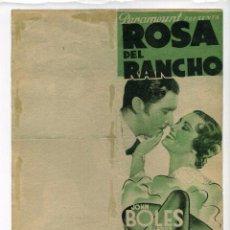 Cine: ROSA DEL RANCHO, CON JOHN BOLES. S/I.. Lote 67620085