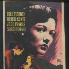 Cine: PROGRAMA SOLIGO - VORÁGINE - OTTO PREMINGER - GENE TIERNEY JOSÉ FERRER RICHARD CONTE CON PUBLICIDAD . Lote 67754685
