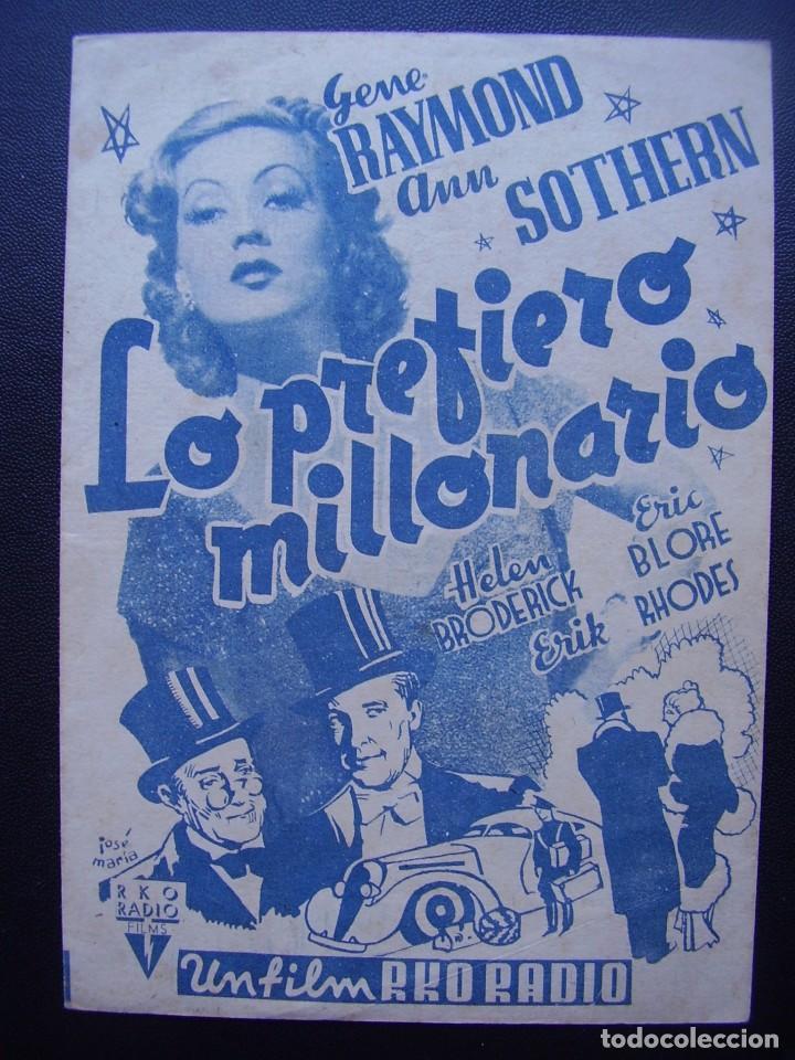 LO PREFIERO MILLONARIO, GENE RAYMOND, ANN SOTHERN, CINE RAMBLA (Cine - Folletos de Mano - Comedia)