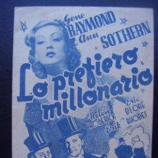 Cine: LO PREFIERO MILLONARIO, GENE RAYMOND, ANN SOTHERN, CINE RAMBLA. Lote 67973745