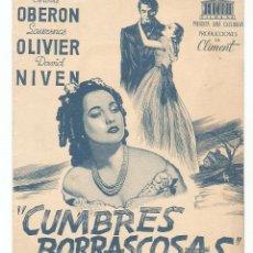Cine: CUMBRES BORRASCOSAS - MERLE OBERON, LAURENCE OLIVIER, DAVID NIVEN - DIRECTOR WILLIAM WYLER. Lote 68009013