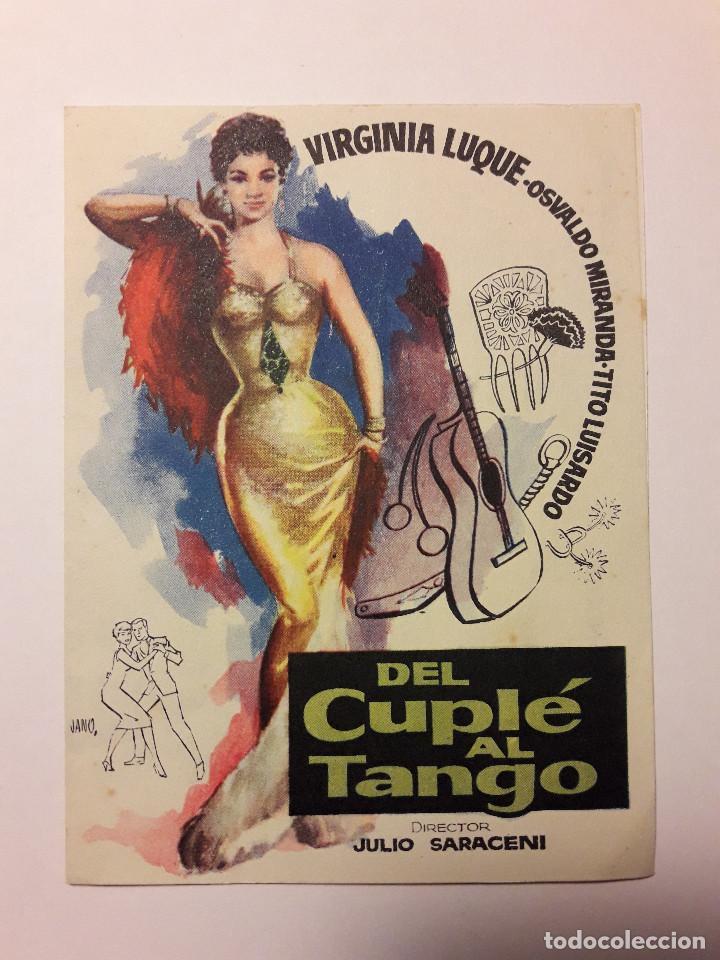 ANTIGUO PROGRAMA FOLLETO DE CINE, DEL CUPLÉ AL TANGO, VIRGINIA LUQUE, JANO. SIN PUBLICIDAD (Cine - Folletos de Mano - Musicales)