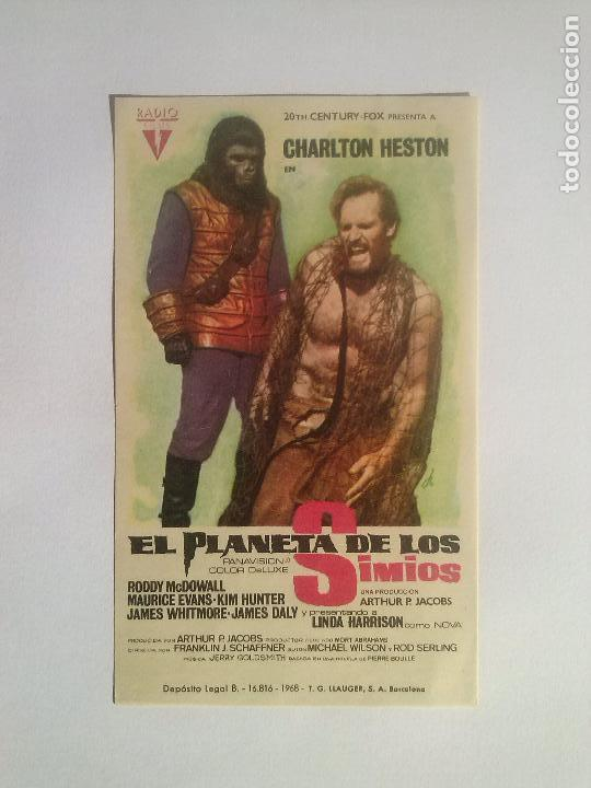 EL PLANETA DE LOS SIMIOS - FOLLETO DE MANO ORIGINAL AÑO 1968 (Cine - Folletos de Mano - Ciencia Ficción)