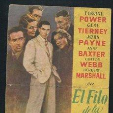 Cine: PROGRAMA EL FILO DE LA NAVAJA - TYRONE POWER - GENE TIERNEY. Lote 68980261