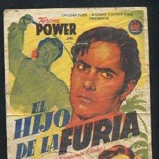 Cine: PROGRAMA SOLIGÓ - EL HIJO DE LA FURIA TYRONE POWER GENE TIERNEY FRANCES FARMER CON PUBLICIDAD. Lote 68998833