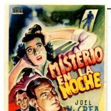 Cine: MISTERIO EN LA NOCHE (FOLLETO DE MANO ORIGINAL CON PUBLICIDAD CINES IDEAL CINE Y PRINCIPAL CINEMA). Lote 69857089