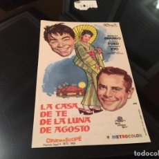 Cine: PROGRAMA DE MANO ORIGINAL - LA CASA DE TE DE LA LUNA DE AGOSTO- CON PUBLICIDAD CINE ZARAGOZA. Lote 69881493