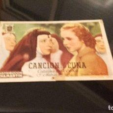Cine: PROGRAMA DE MANO ORIGINAL - CANCIÓN DE CUNA - SIN PUBLICIDAD . Lote 70047693
