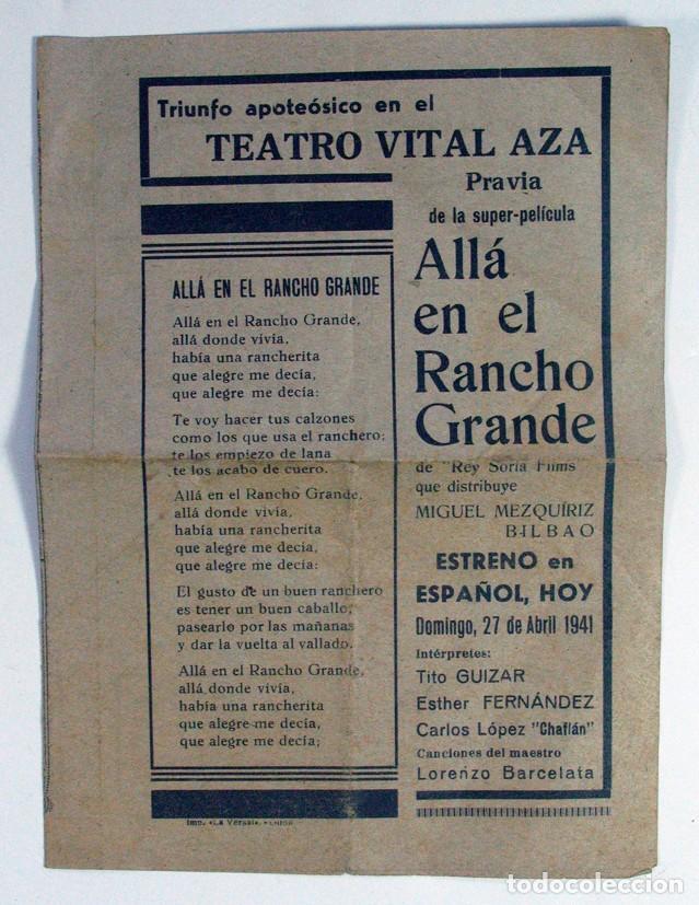 TEATRO VITAL AZA. PRAVIA. CINE. PELICULA ALLÁ EN EL RANCHO GRANDE. 27 ABRIL 1941. ASTURIAS. DSPLEGAB (Cine - Folletos de Mano - Musicales)
