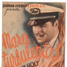 Flyers Publicitaires de films Anciens: MARES TURBULENTOS - PROGRAMA DE CINE DOBLE C/P EN CATALÀ - BARCELONA CINE MAJESTIC 1937. Lote 70410573