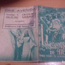 Cine: PROGRAMA DE CINE DOBLE LA CORONA DE HIERRO CON PUBLICIDAD. Lote 70481025