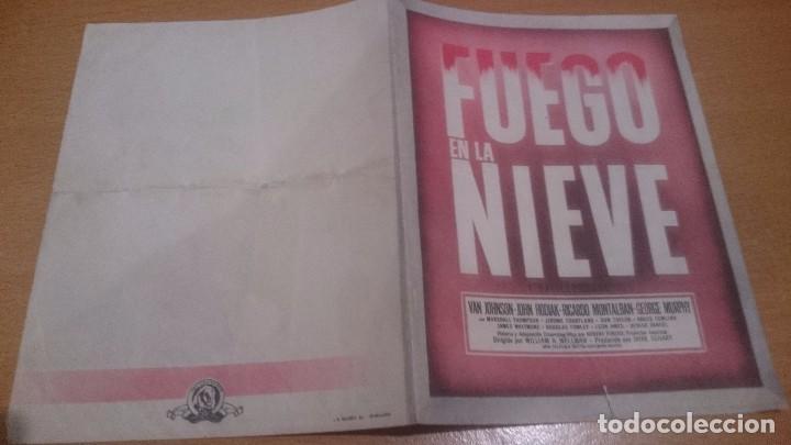 PROGRAMA DE CINE DOBLE FUEGO EN LA NIEVE SIN PUBLICIDAD (Cine - Folletos de Mano - Clásico Español)