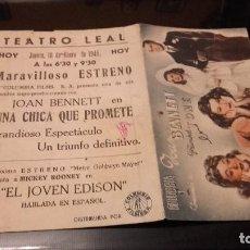 Cine: PROGRAMA DE MANO ORIGINAL DOBLE - UNA CHICA QUE PROMETE- CON PUBLICIDAD TEATRO LEAL 1945 . Lote 70574833