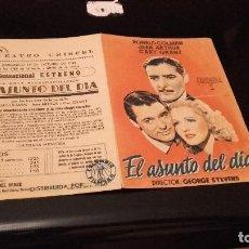 Cine: PROGRAMA DE MANO ORIGINAL DOBLE - EL ASUNTO DEL DIA - CON PUBLICIDAD CINE TEATRO CRISFEL 1944 . Lote 71026781