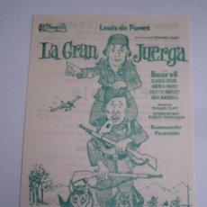 Cine: LA GRAN JUERGA LOUIS DE FUNES BOURVIL FOLLETO DE MANO LOCAL ORIGINAL CON CINE IMPRESO. Lote 71071537