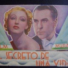 Cine: EL SECRETO DE UNA VIDA, BRIGITTE HELMM JEAN MURAT, TEATRO GAYARRE. Lote 71102597